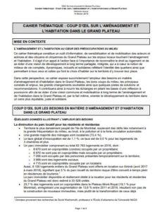 Cahier thématique: Coup d'oeil sur l'aménagement et l'habitation dans le Grand Plateau
